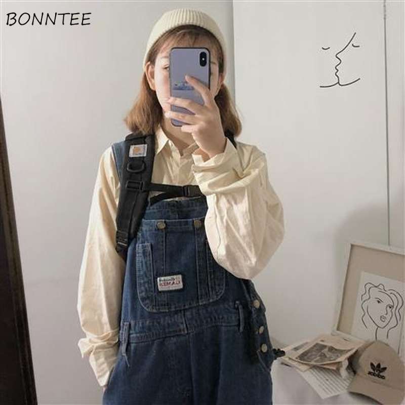 Jumpsuits Women Leisure All-match Denim Solid Simple Pockets Streetwear Womens Loose Korean Style Chic Trendy Retro Daily Casual