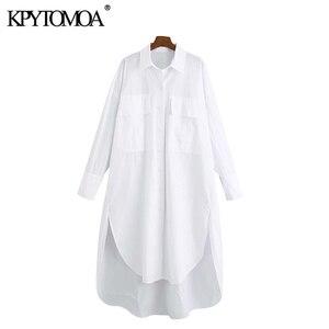 KPYTOMOA Women 2020 Fashion With Pockets Oversized Irregular Blouses Vintage Long Sleeve Side Vents Female Shirts Chic Tops