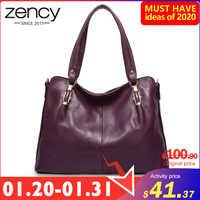Zency de lujo púrpura para mujer bolso de hombro 100% de cuero genuino bolso de moda Bolso tipo Hobo Charm Lady Crossbody bandolera