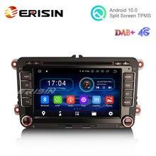 "Erisin es6948v 7 ""android 10.0 carro dvd gps rádio wifi bt canbus 4g DVB T2 para vw caddy mk6 polo magotan seat leon skoda superb"