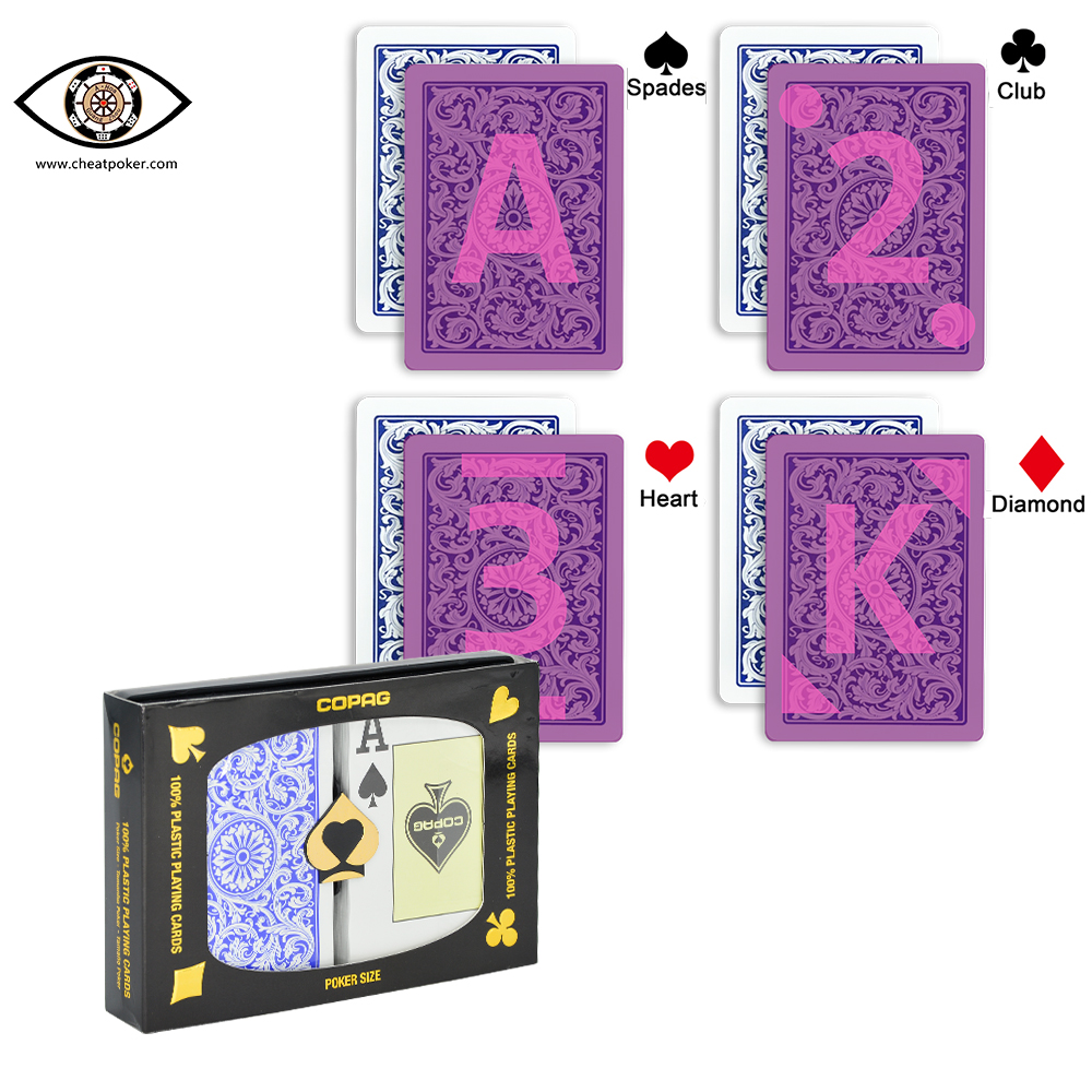 marked cards for contact lenses, COPAG Red and Blue suit, plastic Infrared marked perspective magic anti cheat poker