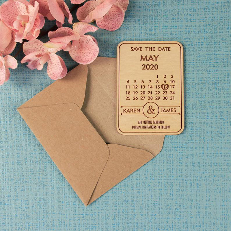 Personalized Calendar Wooden Magnet ,Wedding Save the Date,Bridesmaids Gift Ideas Save the Date Wedding Favors image