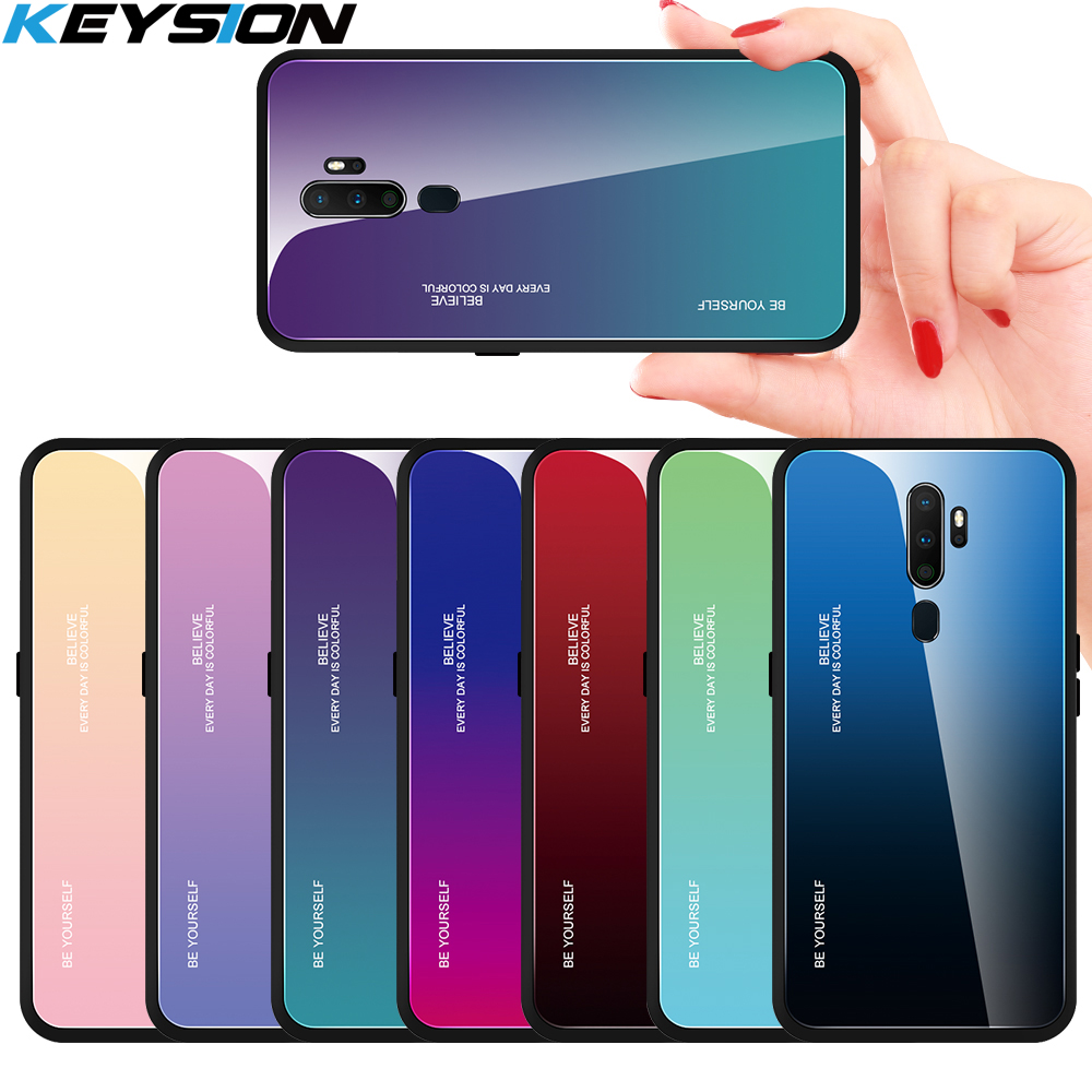 KEYSION Gradient Tempered Glass <font><b>Phone</b></font> <font><b>Case</b></font> For <font><b>OPPO</b></font> A9 2020 <font><b>Case</b></font> Silicone Hard Glass Shockproof Back Cover for <font><b>OPPO</b></font> <font><b>A5</b></font> 2020 A11X image