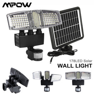 Image 1 - Mpow 178 LED الشمسية الجدار الخفيفة 3 رؤساء الشمسية مستشعر حركة مضاد للماء ضوء السوبر مشرق حديقة الأمن في الهواء الطلق LED كشاف ضوء