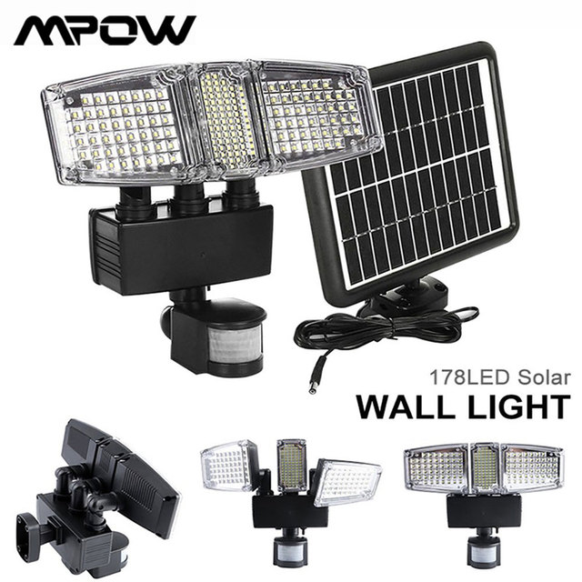 Mpow 178 LED الشمسية الجدار الخفيفة 3 رؤساء الشمسية مستشعر حركة مضاد للماء ضوء السوبر مشرق حديقة الأمن في الهواء الطلق LED كشاف ضوء