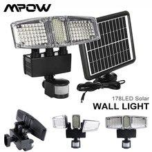 Mpow 178 led solar luz de parede 3 cabeças sensor de movimento à prova dwaterproof água solar super brilhante jardim segurança ao ar livre conduziu a luz de inundação