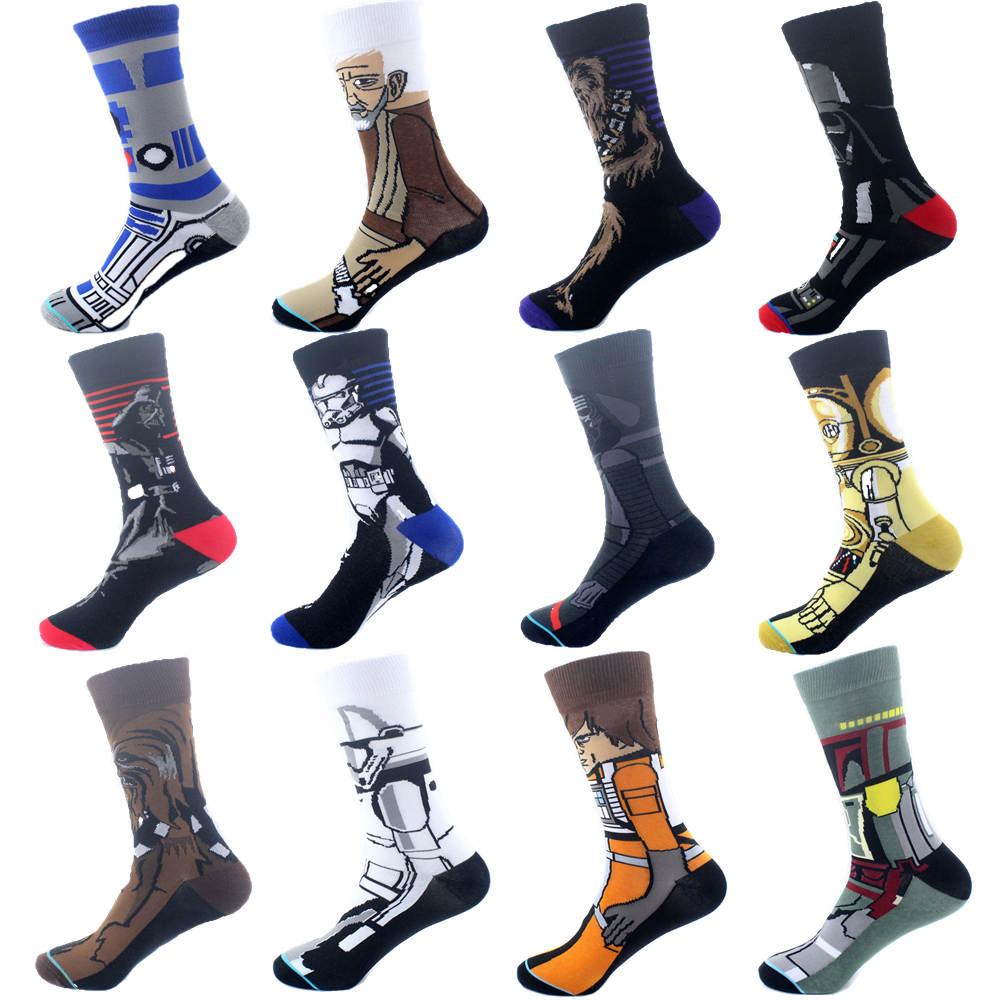 Men's Socks Star Wars Jedi Masters Yoda C-3PO Cartoon Unisex Long Socks Funny Cosplay 3D Stereo Style Socks For Men Gift Socks