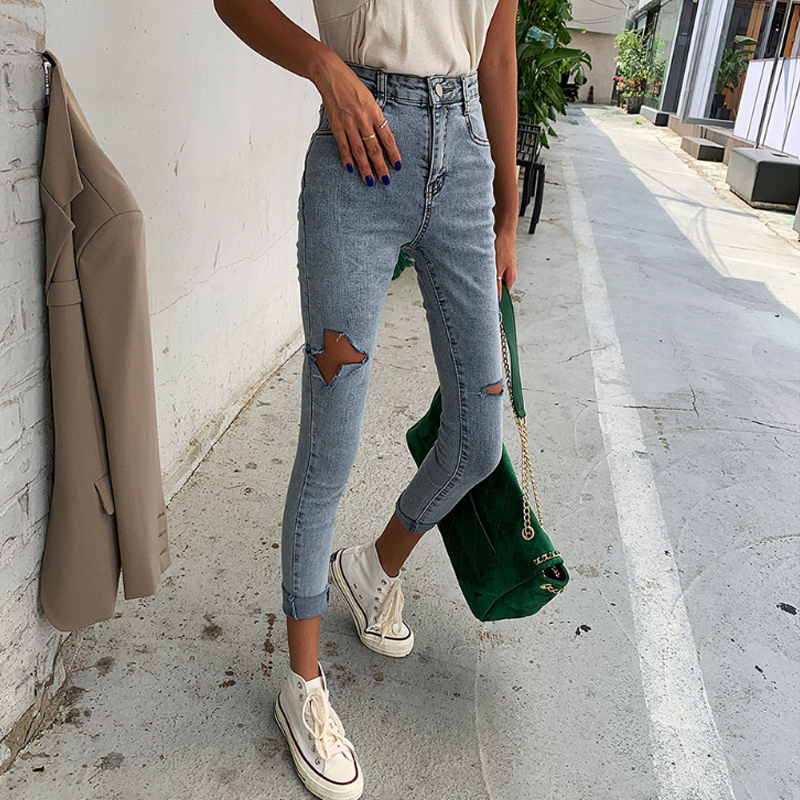 Autumn Chic Ripped Stretch Women High Waist Jeans Women Denim Pants Capri Female Skinny Pencil Jeans 2019