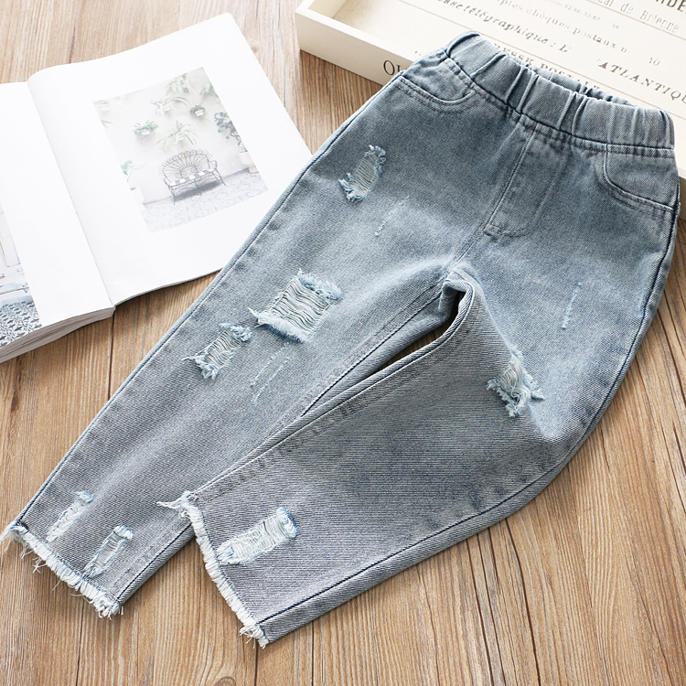 Image 2 - Boys and Girls Jeans 2020 Spring Hole Leisure PantsJeans