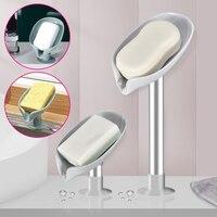 Blatt Form Seife Halter Ablauf Seife Dish Box mit Saugnapf Bad Dusche Schwamm Lagerung Platte Tablett Rack Tragbare Reise gadge