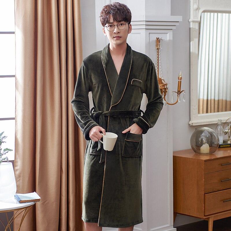 Men Winter Long Thick Warm Flannel Fleece Bathrobe Mens Luxury Kimono Bath Robe Island Velvet Sexy Fur Robes Male Dressing Gown