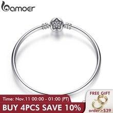 Bamoer autêntico 100% 925 prata esterlina cobra corrente pulseira & pulseira pave estrela zircônia cúbica cz jóias diy
