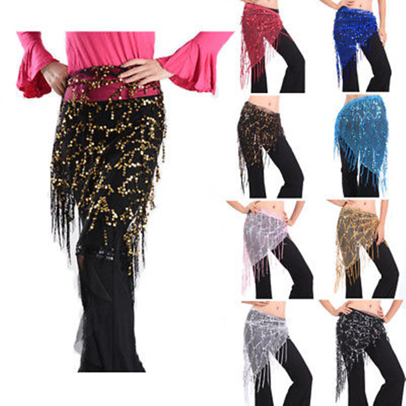 Elegant Fashion Sexy Women Triangle Sequins Tassel Hip Scarf Wrap Skirt Belt Belly Dance Costume