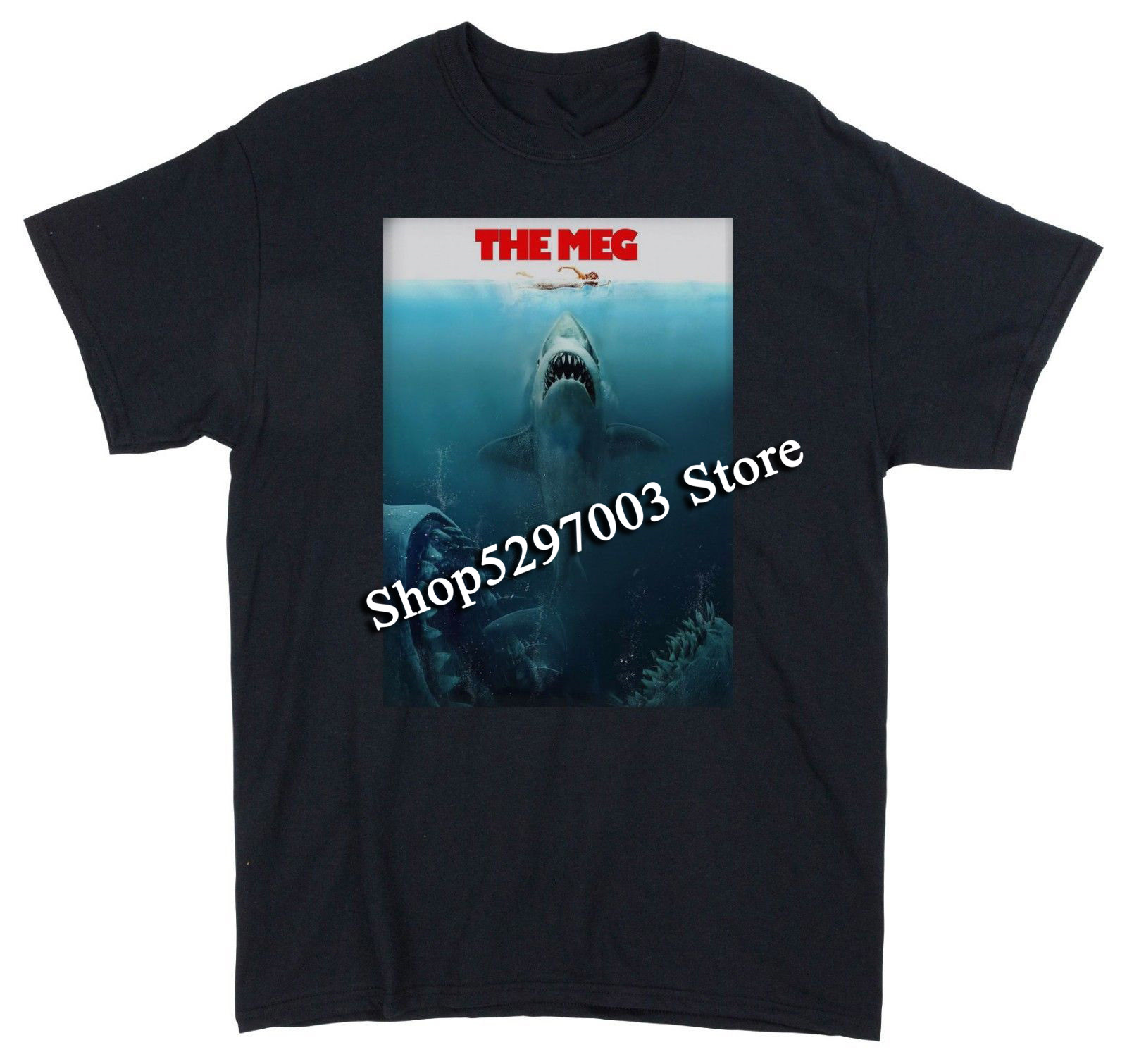 The Meg T-Shirt Jaws Parody Movie Poster Men'S Funny T-Shirts Funny Tee Shirt image