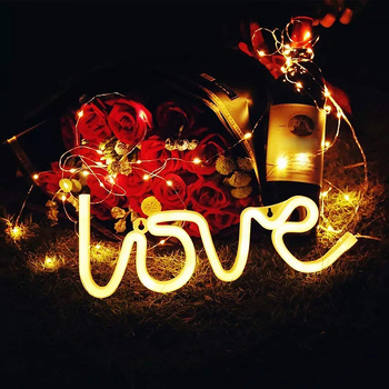 LED Home Night Light Gift Neon Sign Love Heart Wedding Party Decoration Valentine'S Day Bedroom Home Decoration Gift