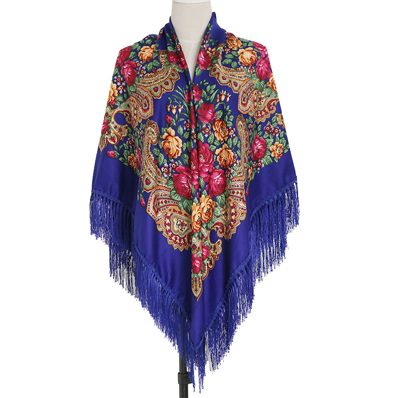 Xinjiang Ethnic-Style Ultra Large Size Tassels Scarf Autumn And Winter Twill Cotton Women's Vintage Printed Kerchief Air Conditi
