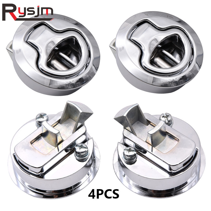 4Pcs <font><b>Boat</b></font> Hatch <font><b>Latch</b></font> Pull Stainless Steel Flush <font><b>Boat</b></font> marine <font><b>Latches</b></font> Round Fit For RV Yacht Camper Deck Hatch Door Cabinet image