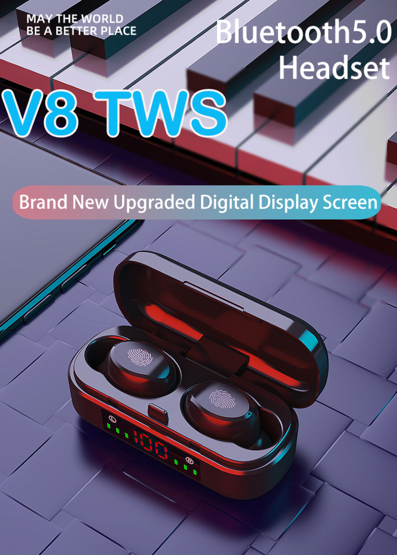 V8 TWS PK I7 Touch Control Bluetooth 5.0 Headphones LED Electricity Display Wireless Stereo Earbud Headset With Charge Box