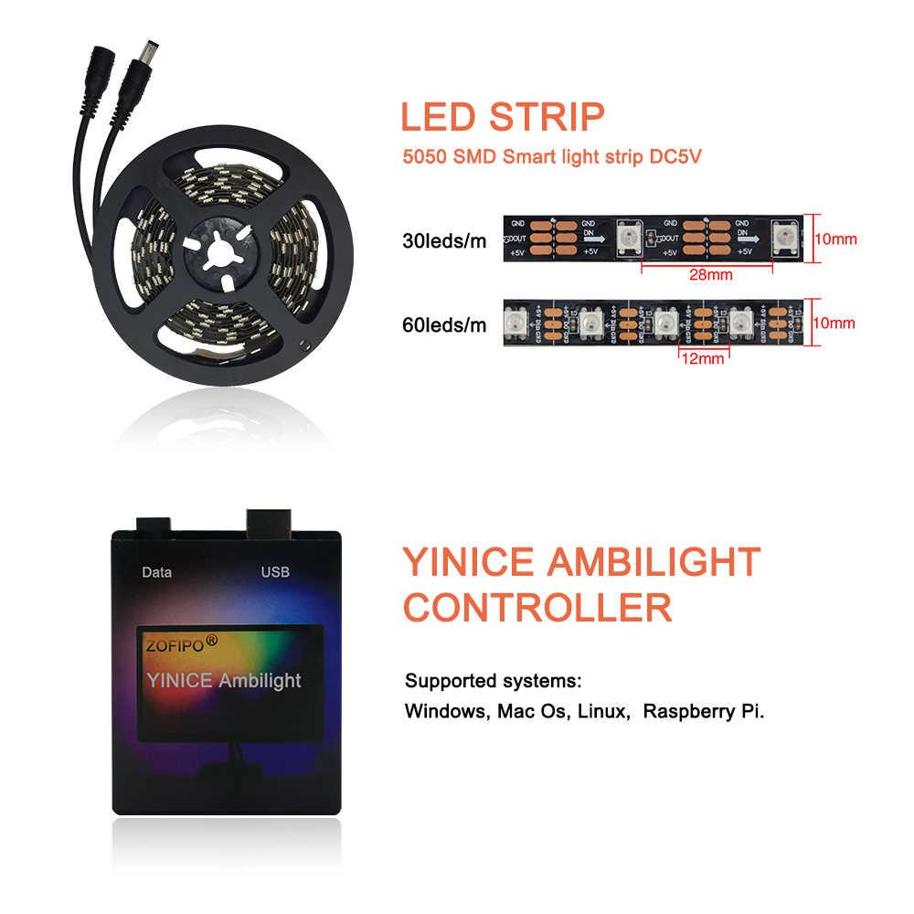Ambilight USB WS2812B tira de luz LED HDTV Monitor de TV pantalla de escritorio iluminación trasera ws2812 píxeles cinta 1M ~ 5M