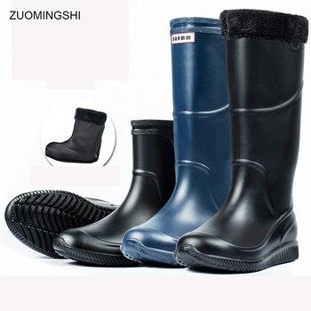 Botas antideslizantes impermeables para el invierno, zapatos cálidos para la lluvia para hombre, botas de nieve de PVC blandas de alta calidad para la pesca, jardín, lavado de coches
