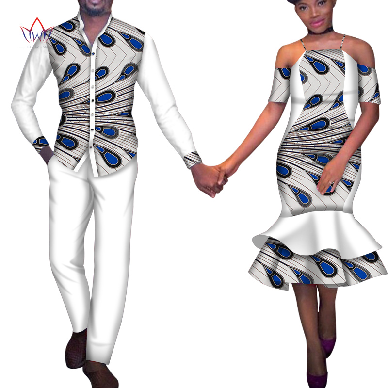 African Couple Clothes African Dresses for Women Bazin Riche African Men Print Top and Pants Wedding Party Clothes WYQ378