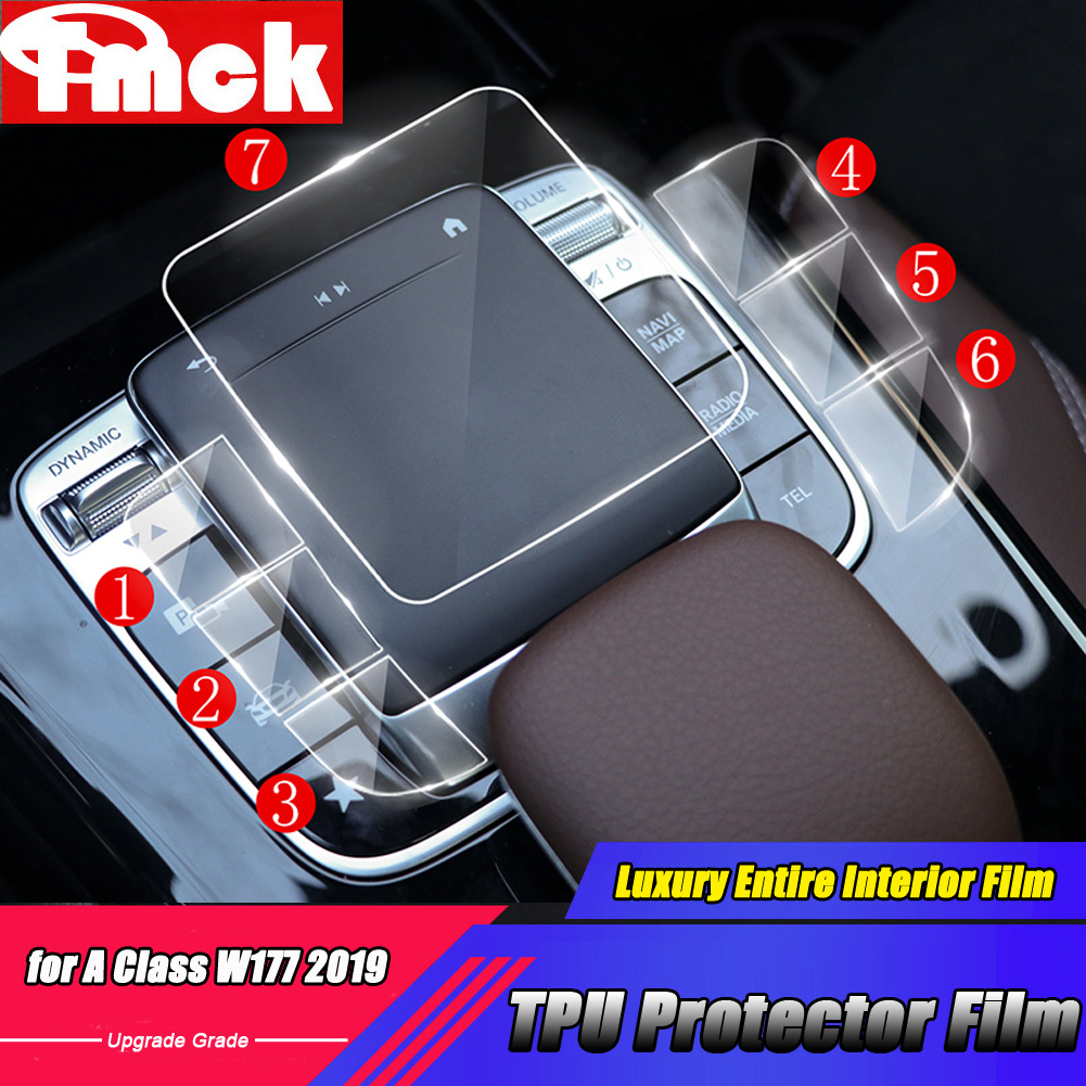For <font><b>Mercedes</b></font> Benz A Class W177 <font><b>A180</b></font> A200 A220 A250 2019+ Car Accessories Center Console TPU Transparent Membrane Protector Film image
