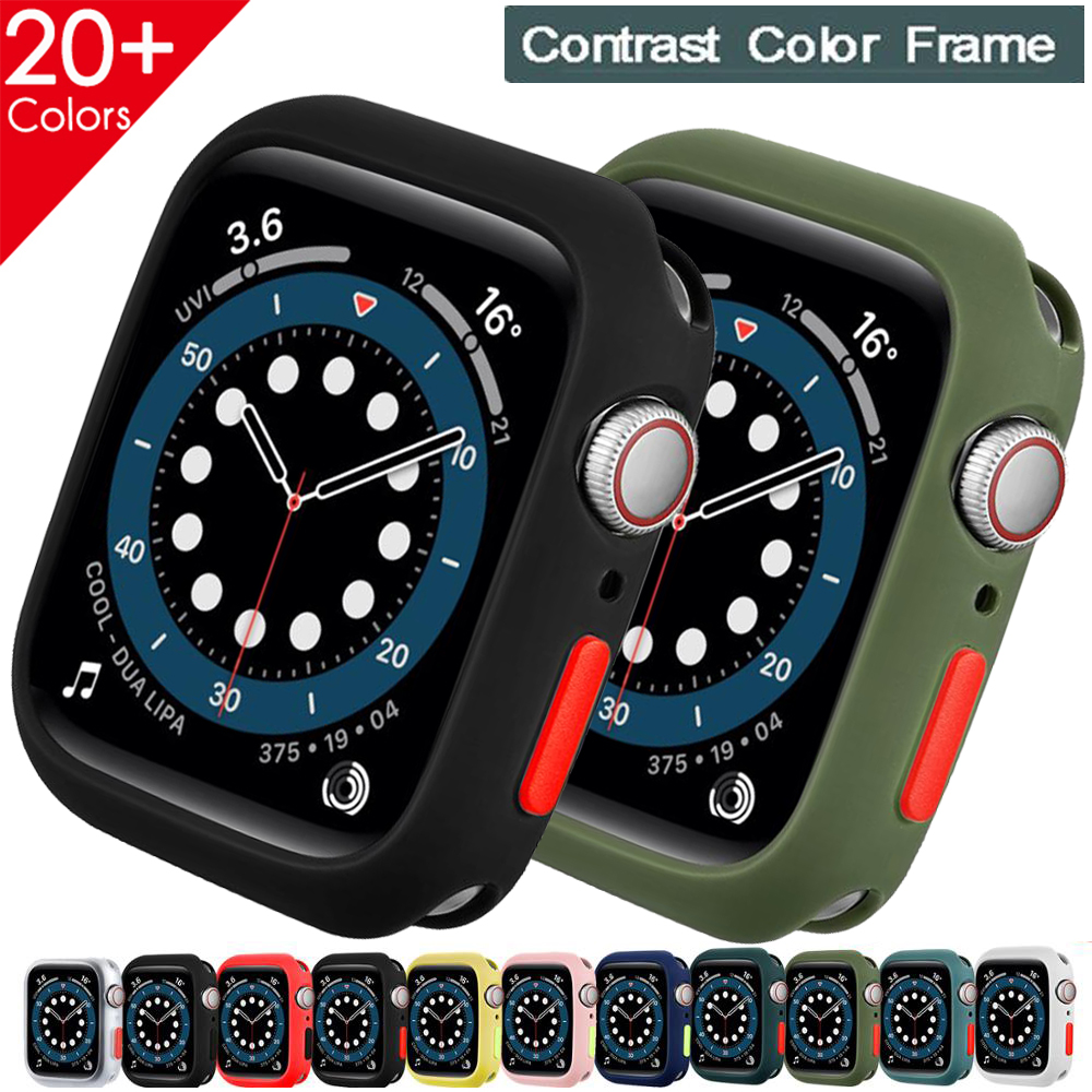 Чехол для Apple Watch Series 5 6 se 3 42 мм 38 мм, мягкая силиконовая защита для Apple Watch, аксессуары для iWatch 40 мм 44 мм