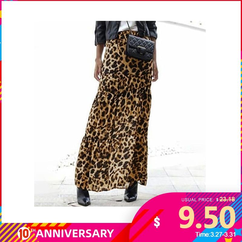 Fashion Women Long Leopard Print Skirts ZANZEA Summer Casual Elastic Waist Skirt Party Loose Maxi Skirts Female Vestido S-5XL