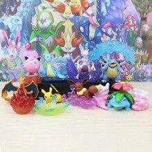 Takara  8pcs/set Anime Pikachu Mewtwo Bulbasaur POKEMON Desktop Model Collection Cartoon Action Toys for Children Gifts