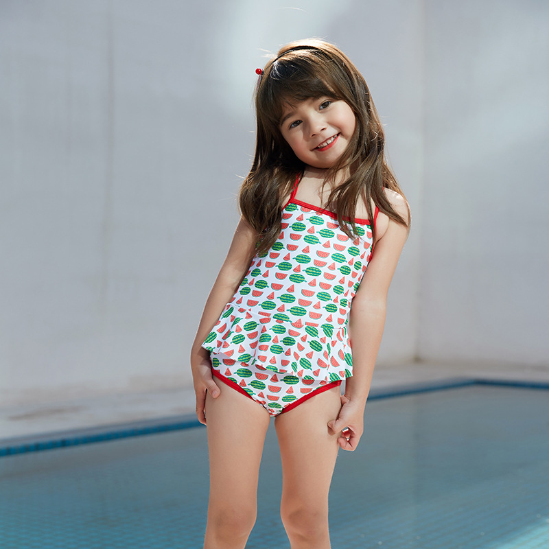 2019 New Style Hot Sales One-piece Swimming Suit Backless Cross-Strap Adjustable Flounced Hipster Girls KID'S Swimwear
