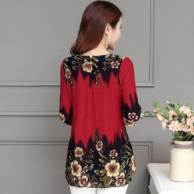 2020 New Arrival Fashion Summer Three Quarter Slim floral long Shirt Female Casual Slim Color Plus Size elegant Printed Blouse 5