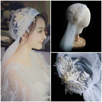 Mori-Style Super Fairy Lace long veil Headdress Beautiful White Gauze Mesh Bridal Wedding Veil Hair Accessories hot style chinese style headdress fairy hanfu super fairy children antique style retro tassel ribbon hairpin hair accessories