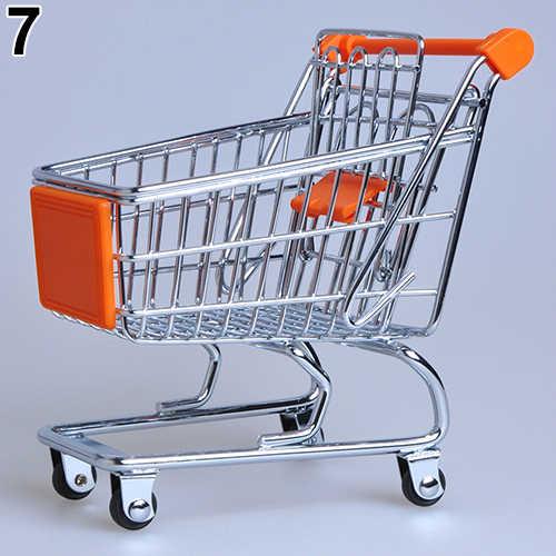Supermarkt Hand Trolley Mini Winkelwagen Desktop Decoratie Opslag Speelgoed Gift Winkelwagen Opslag Trolley Speelgoed Voor Kinderen