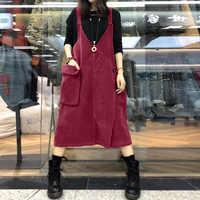 M 5xl zanzea sem mangas veludo verão moda sólida macacão vestido feminino casual suspender vestidos femininos sarafans
