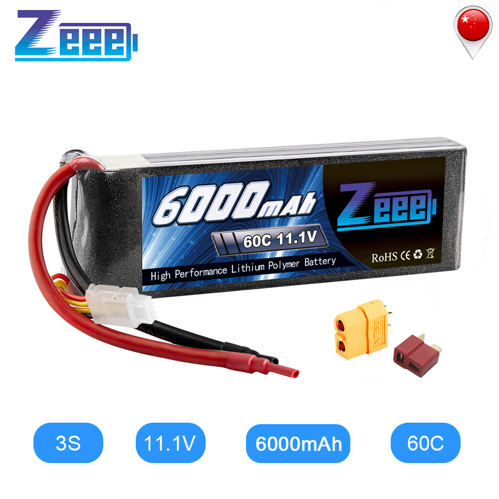 Zeee 11.1V Lipo Battery RC Car 6000mAh 3S Lipo Battery Rechargeable Drone Battery FPV 60C With Deans Plug XT60 For Truck Heli