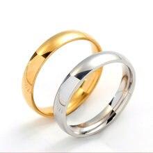 Anillo sencillo de acero inoxidable de 4mm para hombre y mujer, joyería de boda exclusiva, regalo de San Valentín