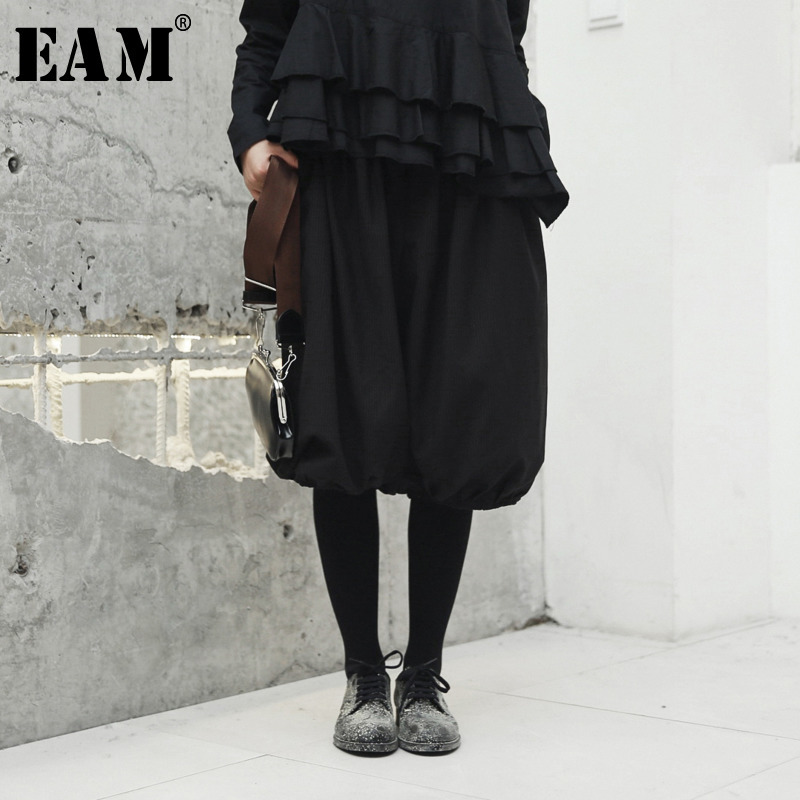 [EAM] High Elastic Waist Black Striped Lantern Knee Length Trousers New Loose Fit Pants Women Fashion Spring Autumn 2020 JH416