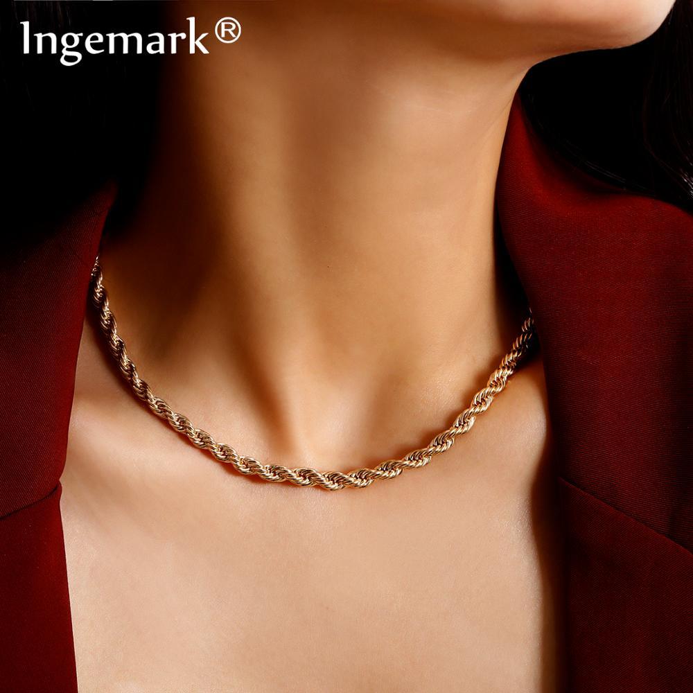 Ingemark Hip Hop Cuban Twisted Choker Necklace Women Colar Punk Simple Iron Chain Pendant Necklace Steampunk Men Fashion Jewelry