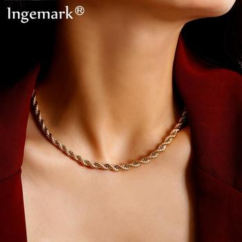 Ingemark Hip Hop Cuban Twisted Choker Necklace Women Colar Punk Simple Iron Chain Pendant Necklace Steampunk Men Fashion Jewelry sitaicery simple men twist oblate wide chain necklace party jewelry birthday gift new hip hop gothic fashion cuban link chain