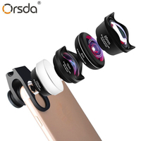 Orsda Universal 4 in 1 Phone Camera Lenses Kit 4K HD Telescope Wide Angle Macro Fish Eye Lens for Almost All Smartphones