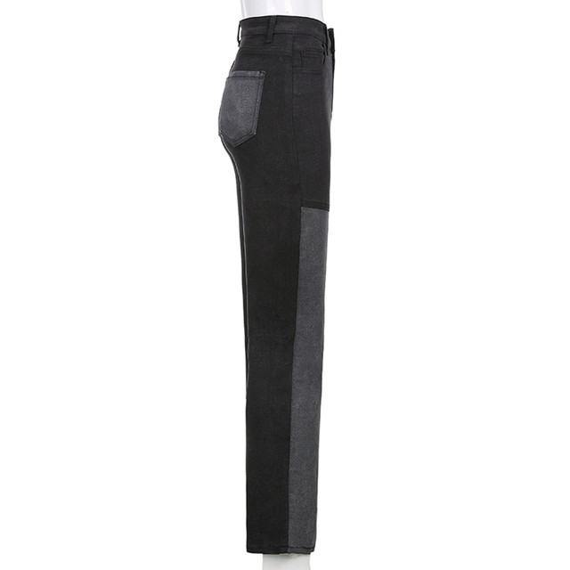 Women's 2021 New Street Fashion And High Street Gray Black Jointed High-Waisted Slimming Straight-leg Jeans Loose Long Trousers 5