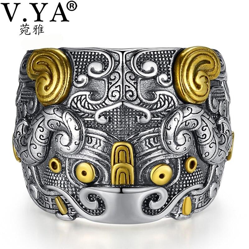 V. YA solide 925 en argent Sterling anneaux Vintage larges anneaux pour hommes chanceux mythique animaux anneaux bijoux fins