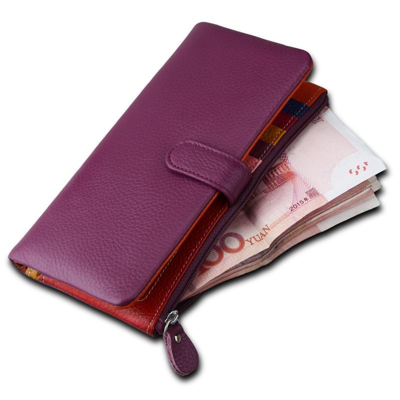 Women 3595 Leather Multi Colour Inner Slot Zipped Clutch Purse Bag Ladies Wallet