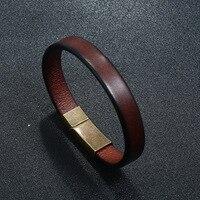 Pulsera de cuero trenzado para hombre, joyería Punk, marrón, acero inoxidable, cierre magnético, brazaletes de moda de 20,5 cm, regalos