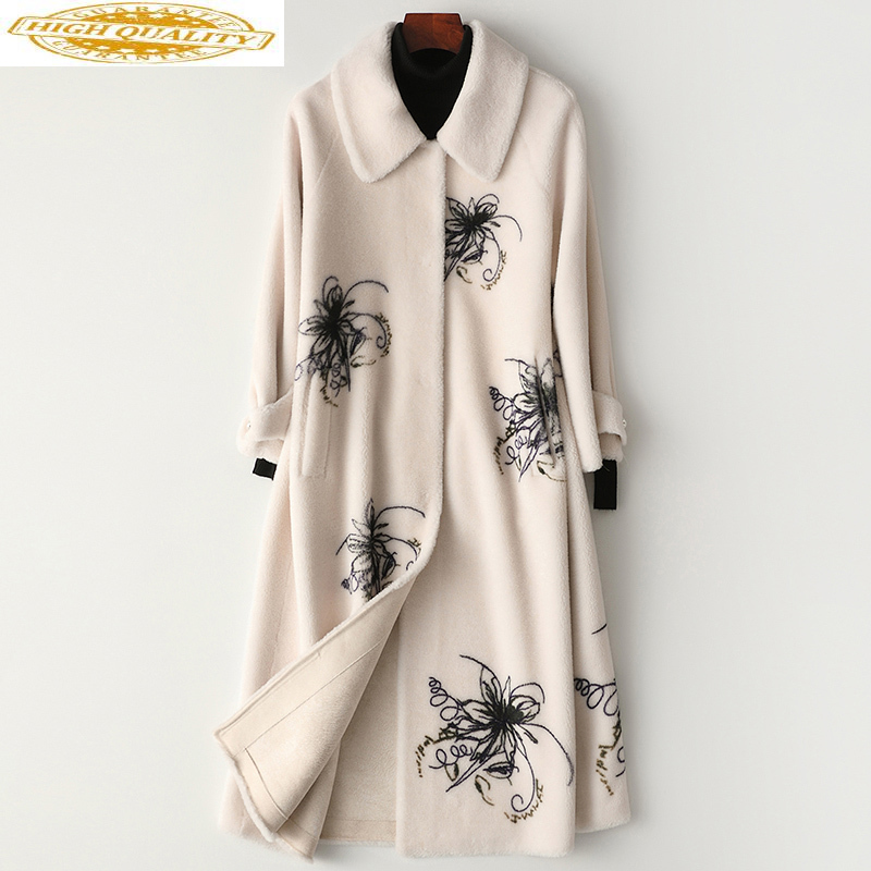 2020 Winter Coat Women Real Sheep Shearling Fur Coat Female 100% Wool Coats Korean Long Jacket Manteau Femme MY4444
