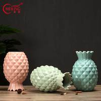 Creative Ceramic Pineapple Vase Decoration Home Office Living Room Tabletop Pottery Vase Filler For Flowers Mother Gift Ornament