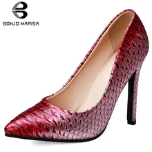 купить BONJOMARISA Plus Size 33-45 Sexy Party Wedding Shallow Pumps Women 2019 Autumn mixed-color Fretwork High Heels Shoes Woman дешево