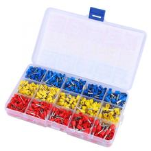 цена на 1000pcs Insulated Crimp Terminal Electrical Ferrules Wire Connector Fast Butt Connector Assortment Kit 22-12AWG