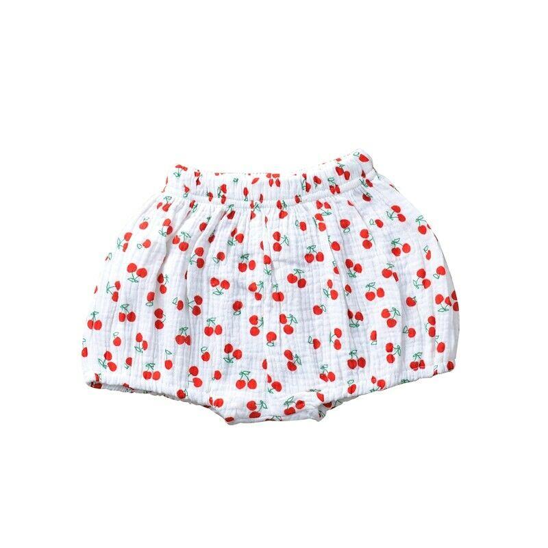 Girls Cotton Linen Bloomer Cherry Shorts