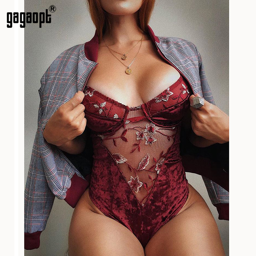 Gagaopt 2019 Sexy Lace Bodysuit Floral Embroidery Mesh Women Jumpsuit Women Perspective Playsuit